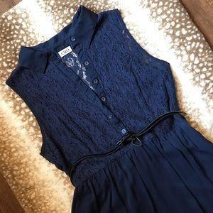 Belted Sleeveless Dress with Top Lace Detail